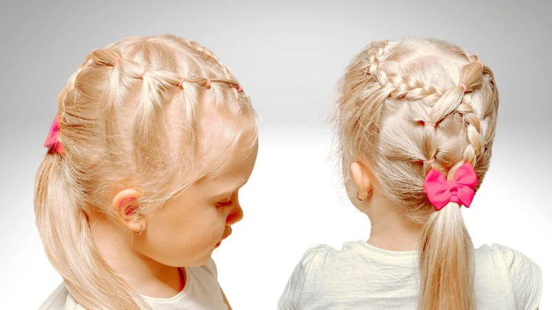 Коса из резинок на волосах