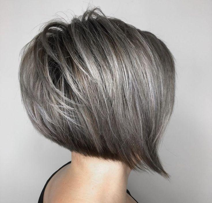 Серый цвет волос на короткие волосы